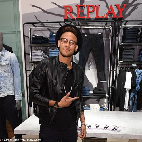 Neymar Jr, International football star, at the Replay concession stand in Selfridges