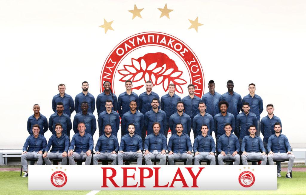 Olympiacos wears Replay denim hyperflex